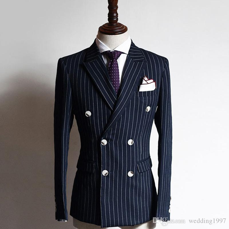 Grelha Da Marinha de Negócios Ternos Formais Dos Homens Dupla Breasted Pico Lapela Two Piece Custom Made Noivo Do Casamento Smoking (Jacket + Calças)