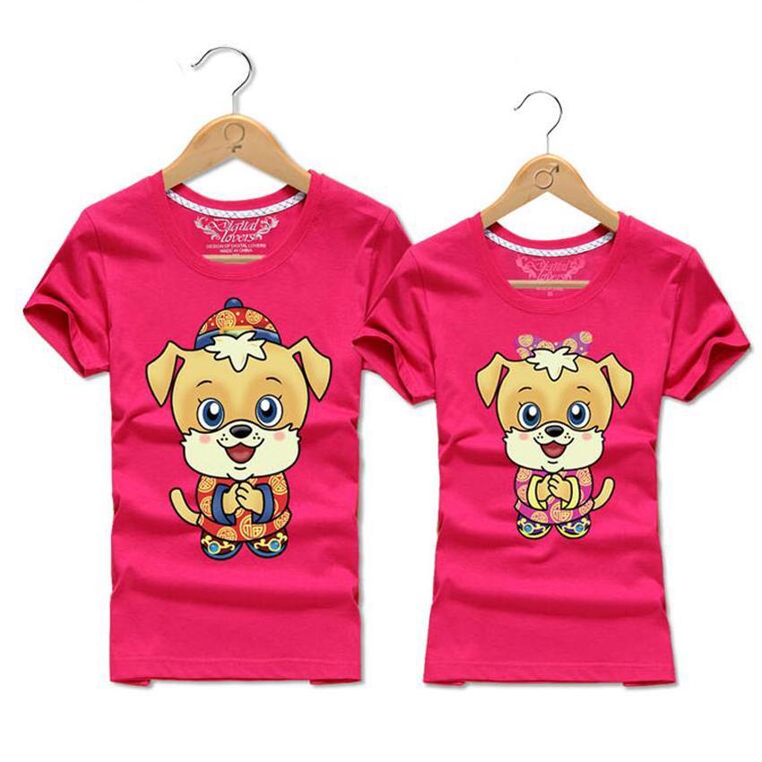 Summer 2018 Cute Cartoon Dog Print T Shirt Woman And Man O Neck