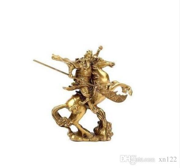 Recogida Old cobre elaborar viejas artesanías latón héroe antiguo chino Guan Gong Guan Yu montar a caballo * estatua de bronce NR