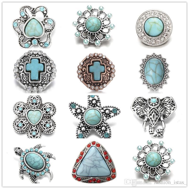 Exquisito embutido turquesa recoger botones a presión 18mm metal flor decorativa encantos del botón para hallar bricolaje resultados de la joyería