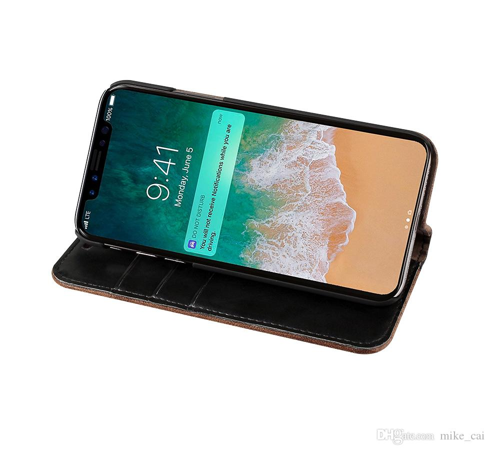 New Stand Magnet Wholesale Luxury For iPhone x mobile phone case leather pattern flexible PU case back cover for iphone 6 7 8/8 plus