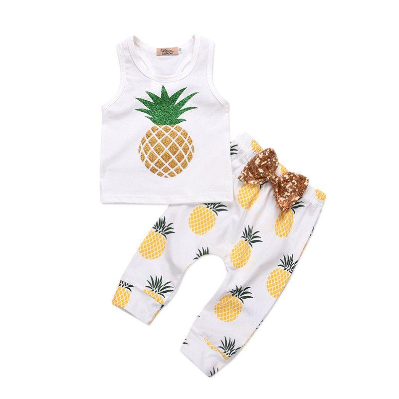 Mikrdoo 2018 verão bonito bebê menino menina roupa sem mangas abacaxi colete top lantejoula laço calça 2 pcs roupas conjunto toddler moda casual terns cl