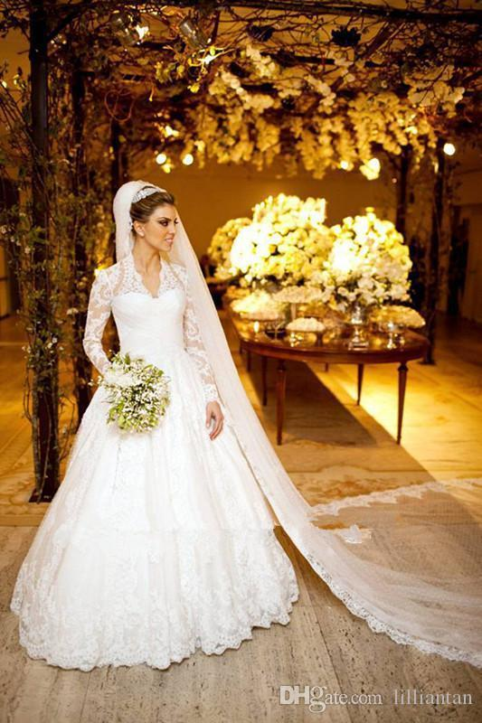Elegante erstaunliche Langarm Spitze Applique 2018 A-Linie Brautkleider mit Kapelle Zug Empfang Kleider Brautkleider 93