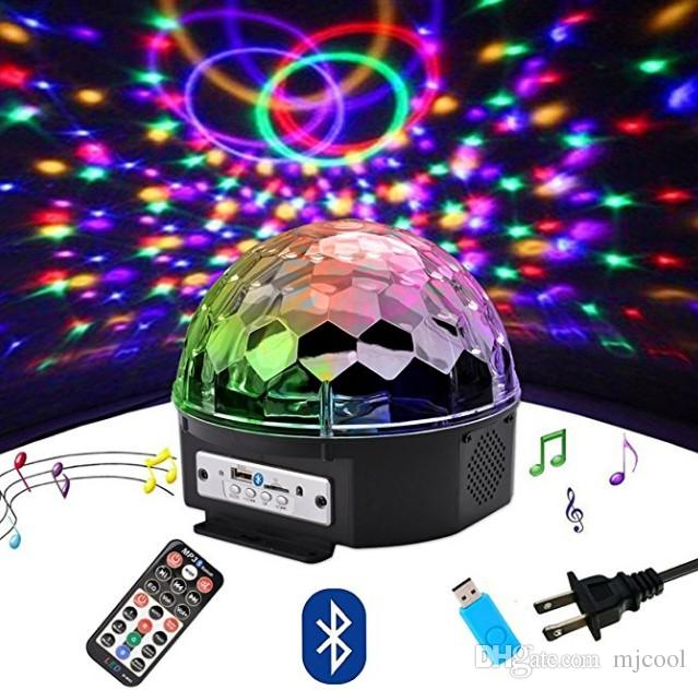 Black Crystal Ball Bluetooth LED Speaker with Light Show /& Remote