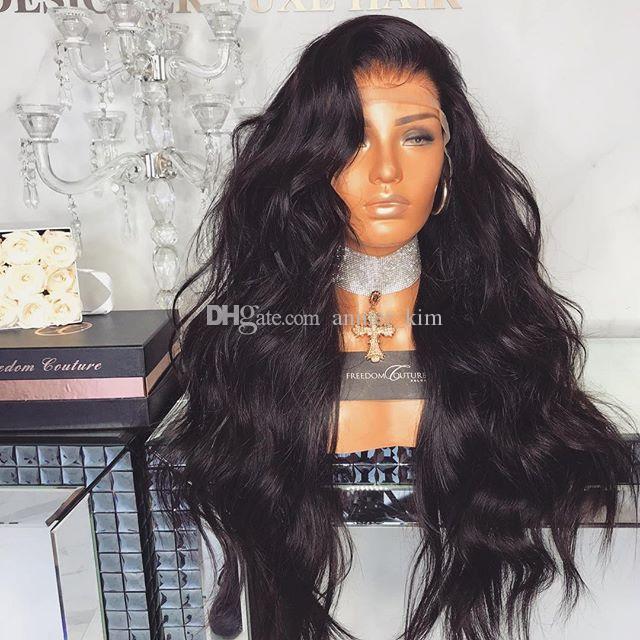 2018 100% unprocessed sexy raw virgin remy human hair long natural color kinky straight full lace cap wig for women
