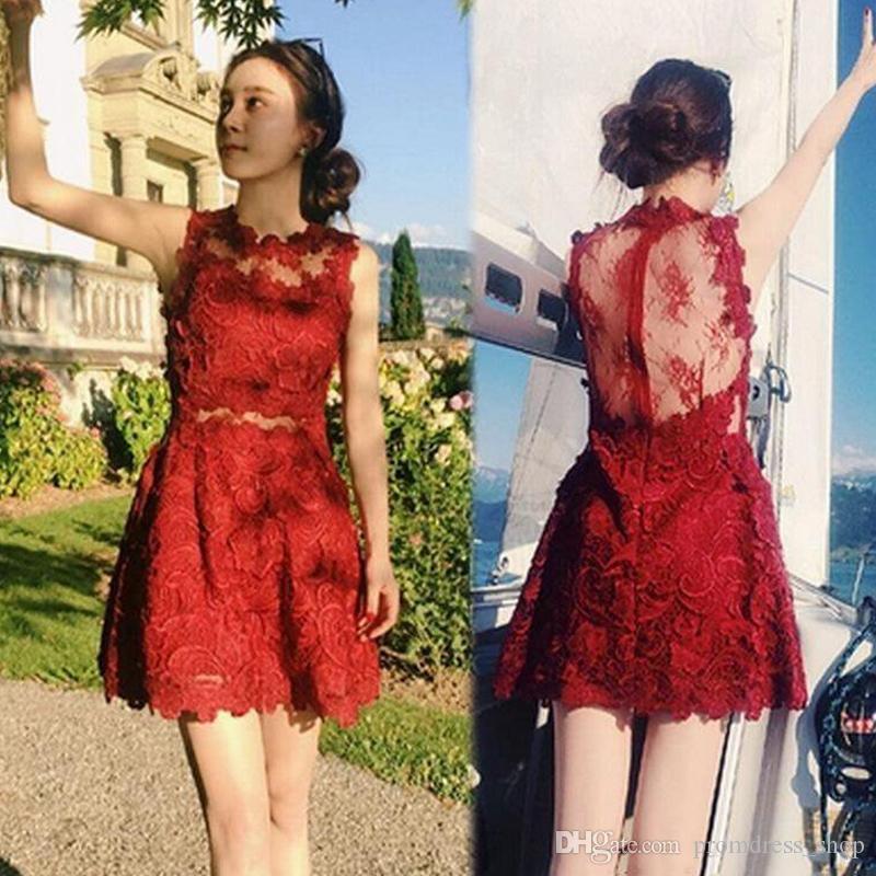 Free Shipping 2019 Fashion Lace Short Graduation Dress High Colllar Sexy Backless Zipper Holiday Homecoming Dress Sheath Prom Party Dress