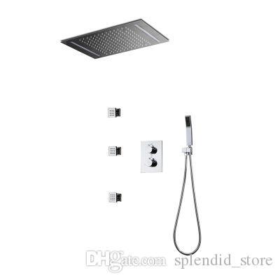 현대 360 X 500 mm LED 최근 천장 레인 샤워 세트 / 온도 조절 3 기능 샤워 시스템 / 황동 크롬 바디 제트 2 인치