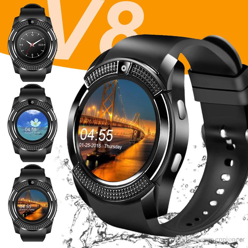 V8 스마트 시계 블루투스 시계 안드로이드 0.3 메터 카메라 MTK6261D DZ09 GT08 스마트 워치 애플 안드로이드 전화 소매 패키지