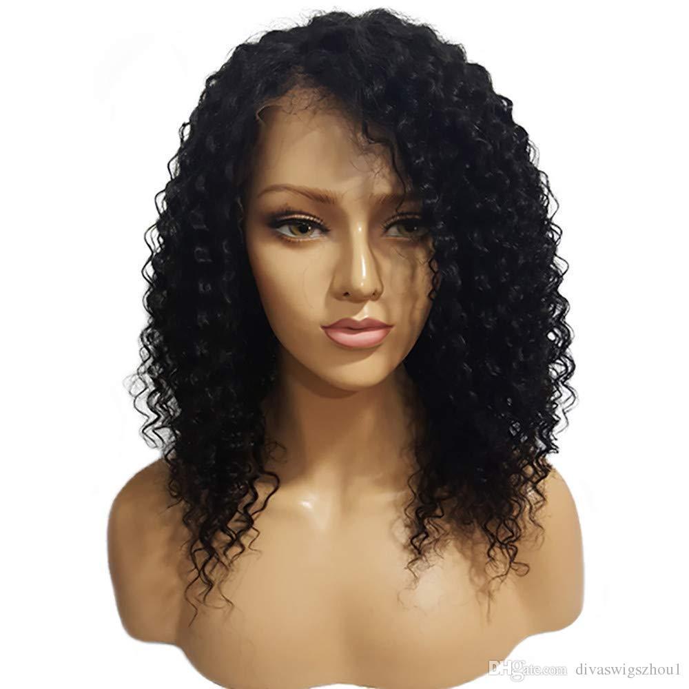 360 Pelucas delanteras del cordón del pelo humano para las mujeres negras Natural Negro Pre Arrancado 130% Densidad Brasileña Rizado Pelucas de cabello humano Rizado profundo