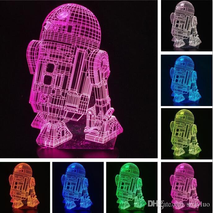 로봇 R2D2-B 3D 나이트 라이트 비주얼 컬러 그라데이션 스위치 터치 원격 참신 조명 테이블 홈 장식 어린이 슬리퍼 Lamparas 램프 선물