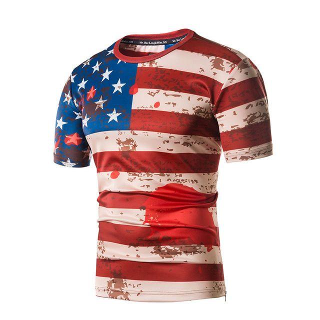 USA Drapeau T Shirt Hommes / Femmes 2018 Été À Manches Courtes 3D Impression O Cou Hommes T-shirts Casual Slim Fit Côté Zipper Tee Shirt Homme