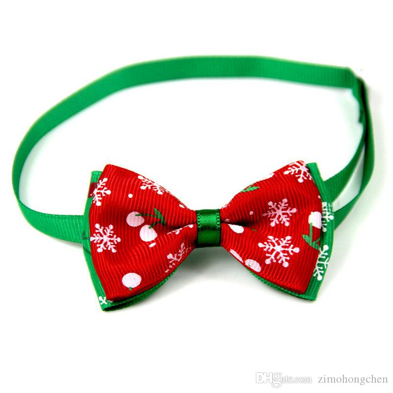 60PC/Lot Christmas Holiday Pet Cat Dog Collar Bow Tie Adjustable Neck Strap Cat Dog Grooming Accessories Pet Product Supplies Christmas