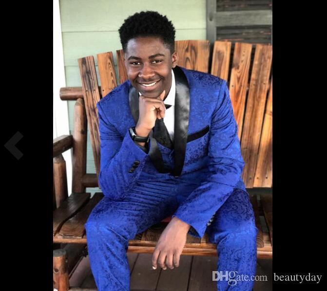 Royal Blue Wedding Tuxedos Lace Slim Fit 2020 Abiti sposo Custom Made Groomsmen Best Man Prom Abiti neri Pantaloni (Giacca + Pantaloni + Papillon + Gilet)