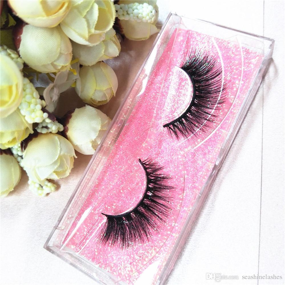 Seashine Lashes 100% de calidad superior 3D Mink Lashes Extension hecho a mano para los fanáticos de Strip Glitter Packaging 10 pares / set Mink Lash Envío gratis P1
