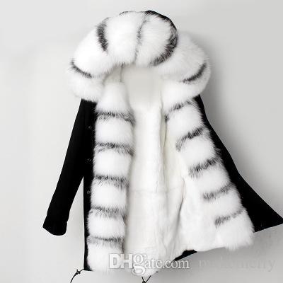 2018 New Winter Genuine Rex Rabbit Fur Liner Silver Fox Parkas