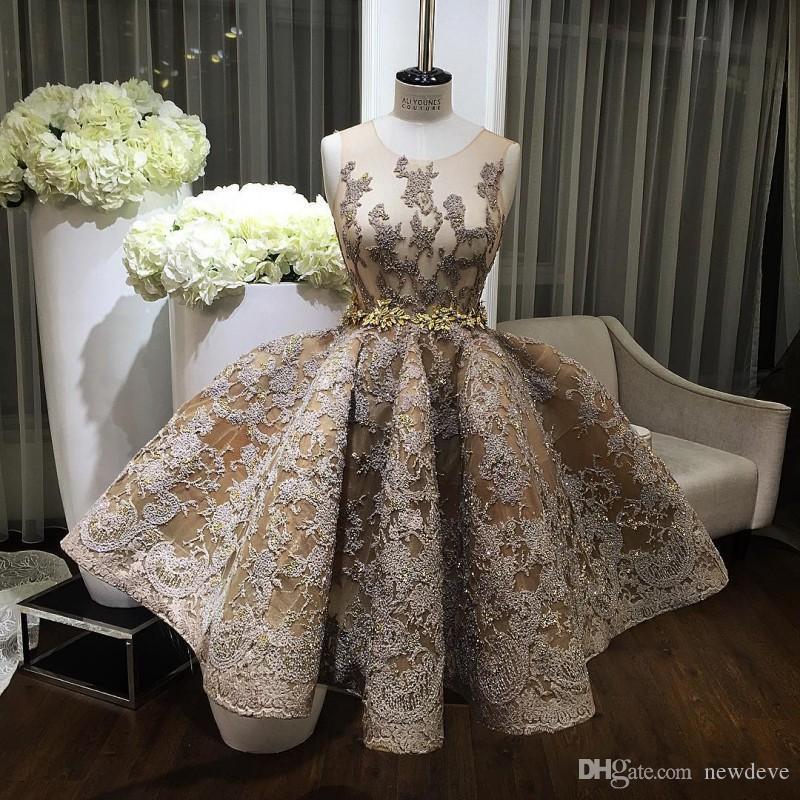 2020 vestido de la ocasión de oro del cristal de encaje vestidos de baile de la falda hinchada de los vestidos de noche cortos Joya vestido de bola especial vestido por encargo