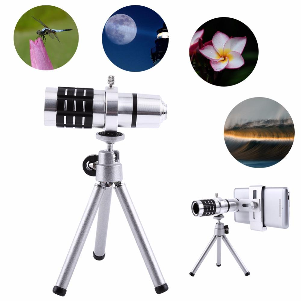Freeshipping 12X Zoom Camera Telephoto Telescope Lens + Mount Tri Kit For Smart Phone Universal New