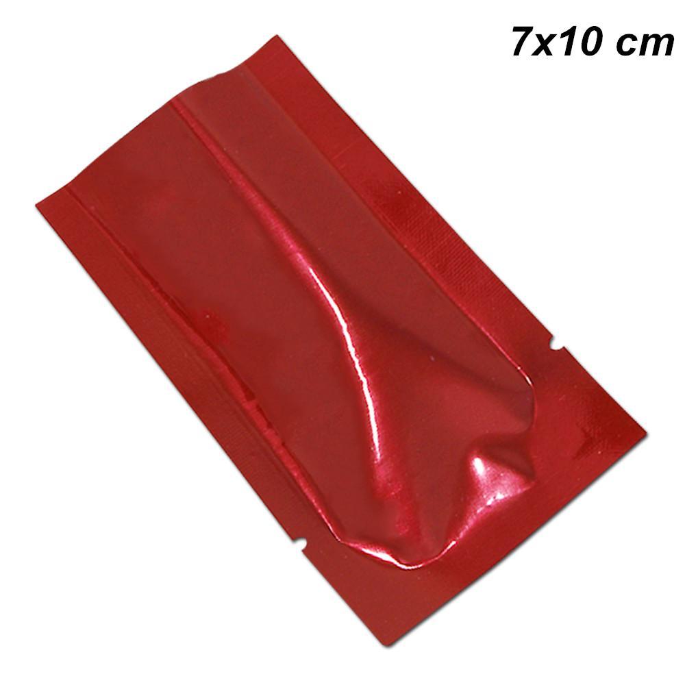7x10cm Красный 200pcs открытый верхний вакуумный Термосвариватель образцы пакетов алюминиевая фольга майлар пищевые мешки для хранения майлар фольга плоские обертывания для кофе чая