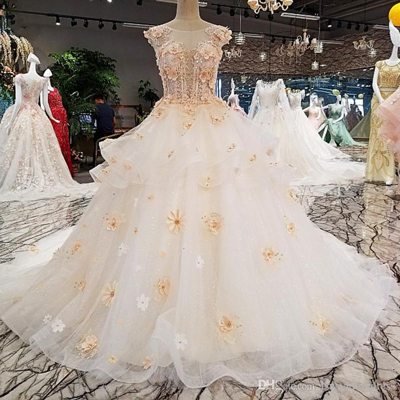 Simple Garden Wedding Dresses Sexy See Through Ball Gown Luxury Fashion Bridal Hot Long Train Wedding Gown