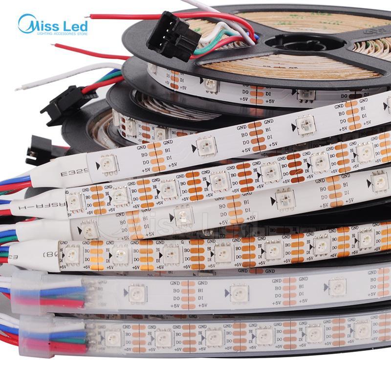 1m / 4m / 5m WS2813 (Dual-Signal-Kabel) 30/60 LEDs / m 2813 einzeln geführter Pixelstreifen, WS2812B Aktualisierte schwarz / weiße Leiterplatte, IP30 / 65/67 DC5V