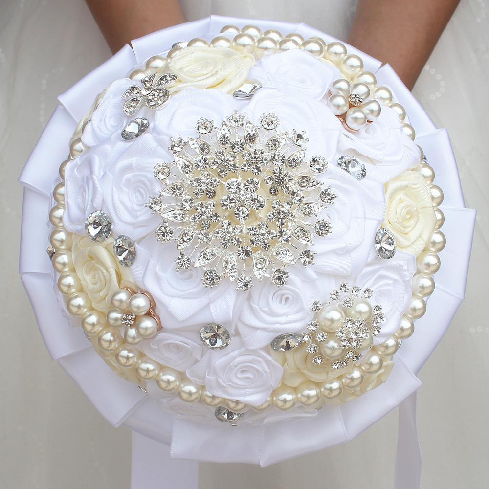 Bouquet Sposa Gioiello.Acquista 17cm Bianco Avorio Satinato Rosa Bouquet Da Sposa