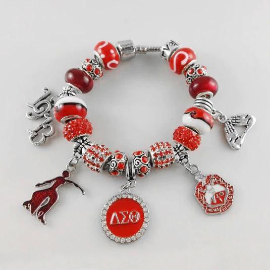 5 Tamanho Red Bead Delta Sigma Theta Fundador Irmandade Senhora 1913 Charme Pulseira Retro Pulseiras Jóias Acessório