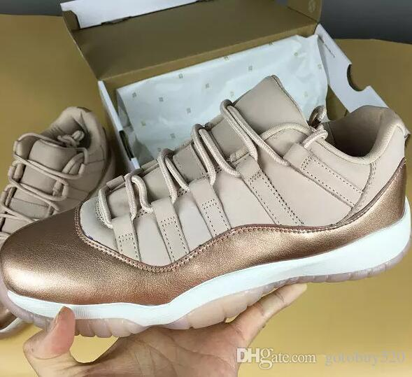 11S baja aumentó los zapatos de oro al aire libre WMNS Vela roja metálica de bronce-goma de color marrón zapatos de diseño zapatos de las mujeres al aire libre