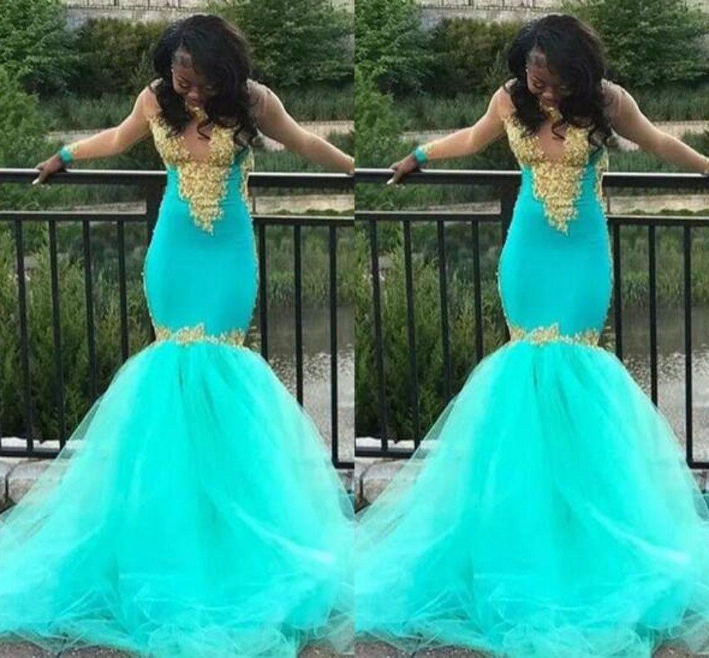 mermaid turquoise prom dresses