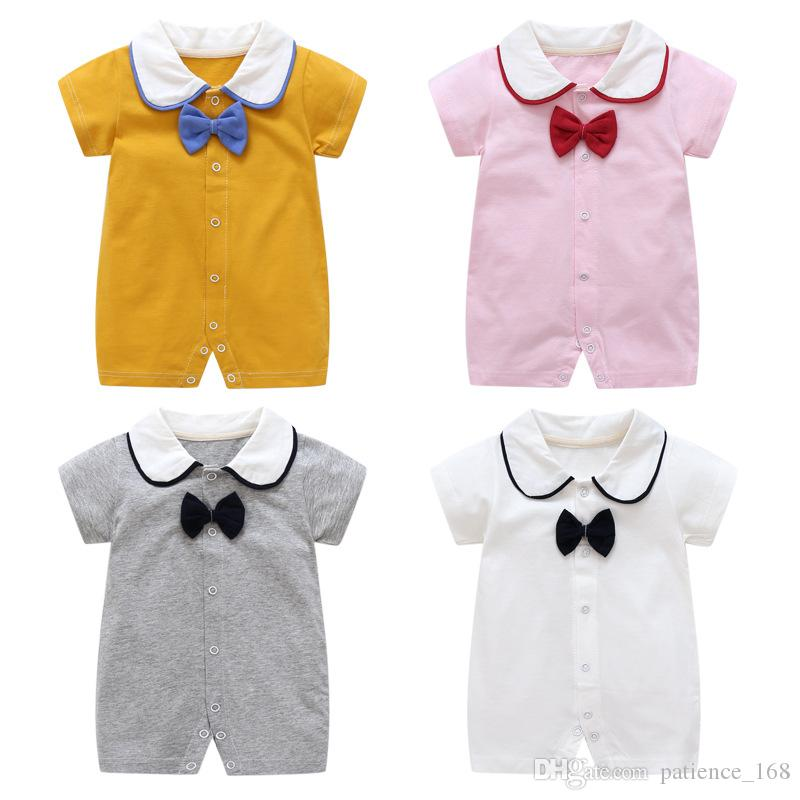romper 2018 Hot selling new arrivals summer baby kids short sleeve doll collar pure cotton bowtie romper 4 colors free shipping