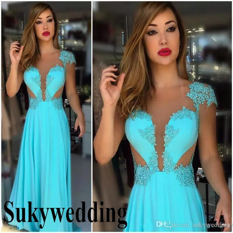 Turquoise Prom Dresses Evening Wear Sheer Neck Cap Sleeves Sexy Illusion A-Line Lace Appliques Beading Floor Length Pageant Party Dress