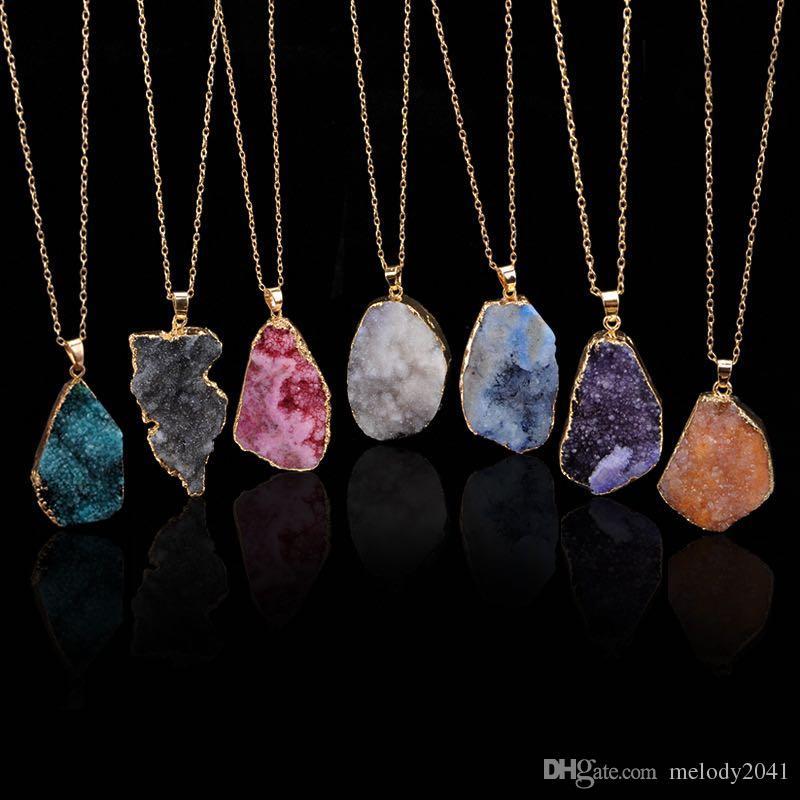 Natürliche Kristallquarz Anhänger Halskette Original Stein Unpolierte Steine Stil Kette Frauen Schmuckketten 7 Farben Großhandel
