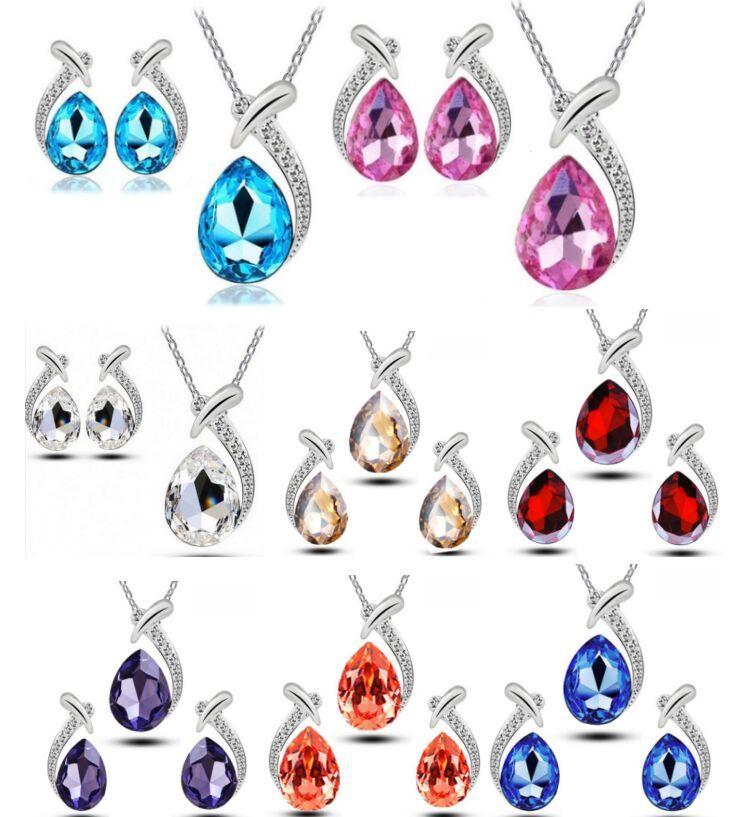 Mode Haute Qualité 925 Argent Poissons beauté diamant bijoux Zircon Cristal Boucle D'oreille Collier Ensemble Valentin Cadeaux De Vacances HJ220