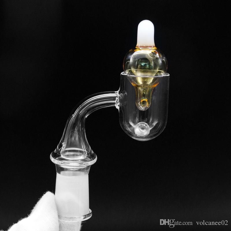 Quartz Banger Set Carb Cap with terp pearl insert thermal banger round bottom flat top domeless nail 14mm male female For Dab Rig