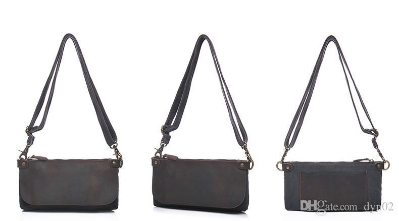 Damen Leder Schulter Messenger Bag Hand Reißverschluss Multifunktionsöl Unterschied Paket Querschnitt Canvas Tasche 3 Farben
