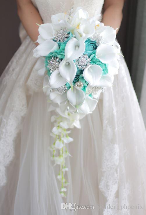 2018 High End Custom White Calla Lilies Mint Green Rose Hydrangea
