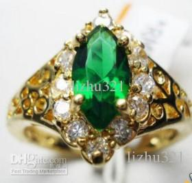 NICE 10K REAL YELLOW GOLD FILLED LADY'S EMERALD RING #8