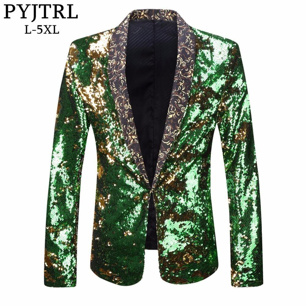 PYJTRL Men Plus Size Double-Color Green Blue Silver Gold Red Black Sequins Blazer Singer Costume Prom Wedding Suit Jacket Outfit S18101902