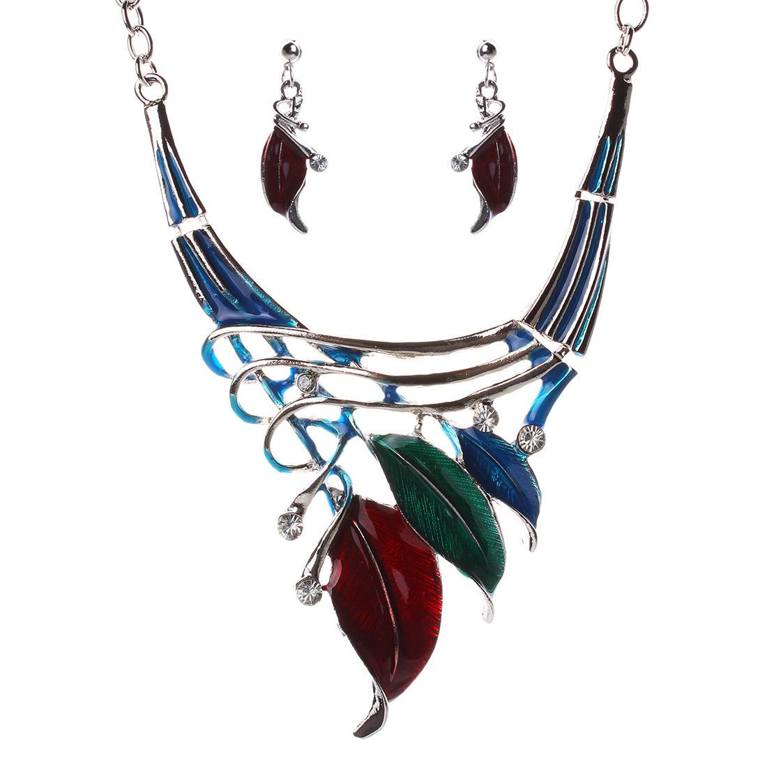 Leaf Style Alloy Enamel Necklace Earrings Set - 5 Colors Leaves Womens Statement Necklaces Jewelry Sets Boho Holiday