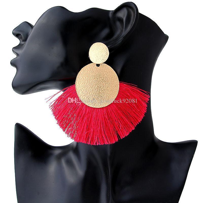 New Bohemian Jewelry Double Gold Circle Long Tassel Earrings For Women Fringe Statement Earring Wedding Party Gifts