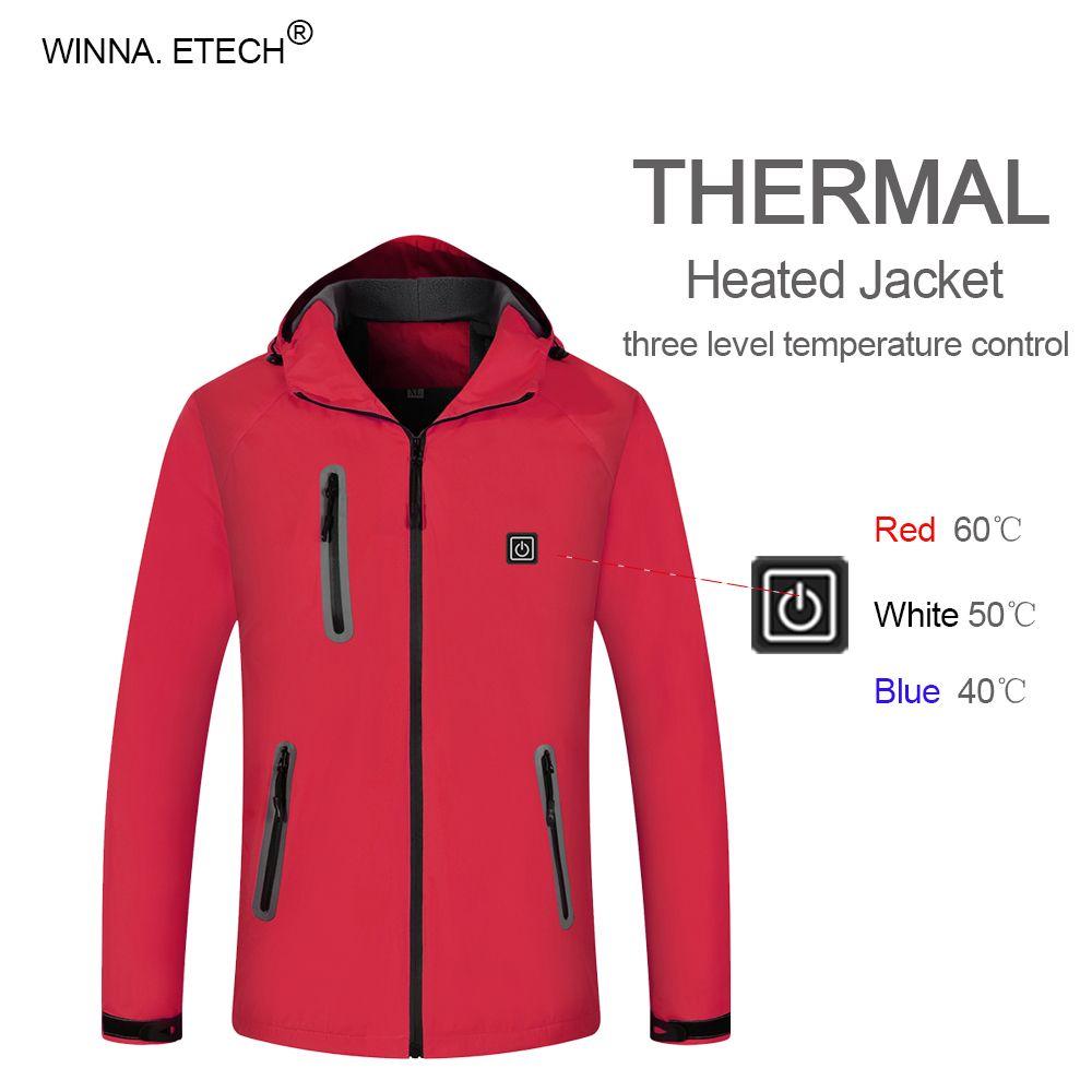 New Men Intelligent Heated Jackets Windproof Waterproof Winter Warm Hiking Heating Clothing 3 Level Temperature Adjustable Coat