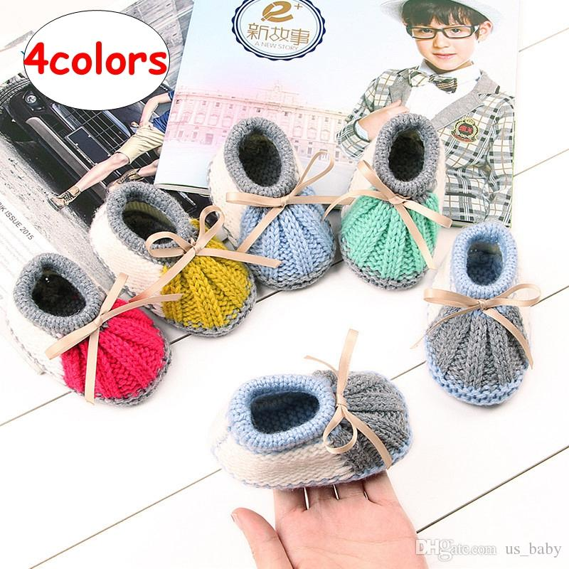 Baby Knitted shoes Autumn Winter Toddler Girl Boy Patchwork shoes Flat shoes 4colors 4size for choose