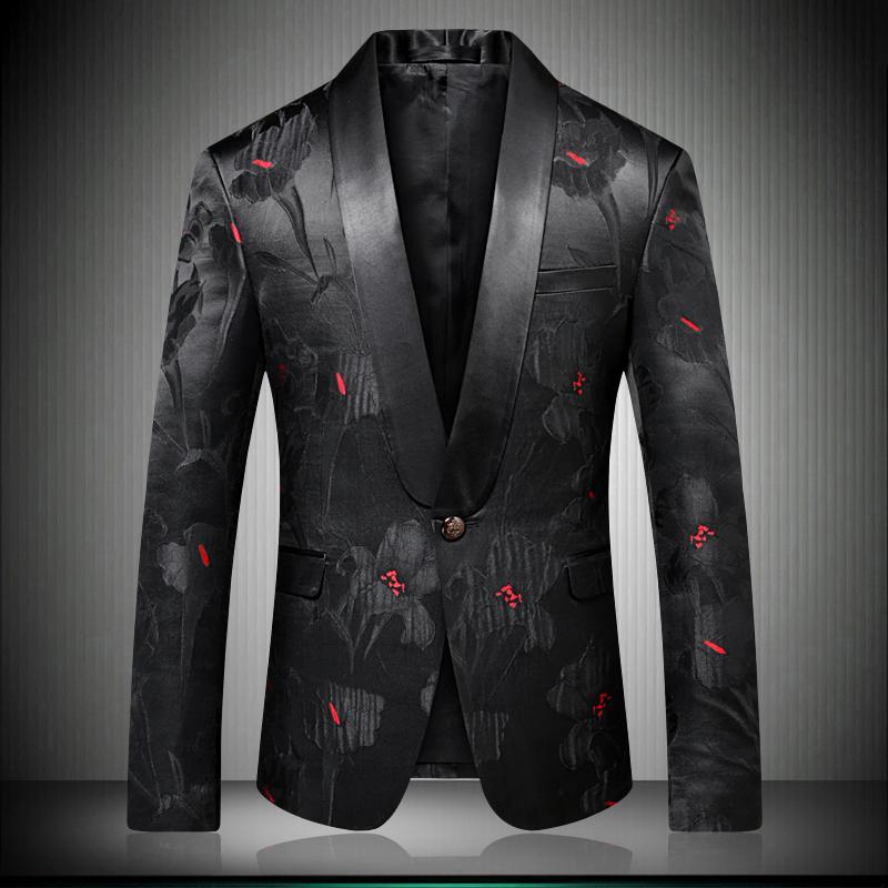Männer-stilvolle Blumenblazer-Designer-Marke Slim Fit 2018 Herbst-Winter-neue intelligente zufällige eine Knopf-Männer-schwarze Klage-Jacke 9008