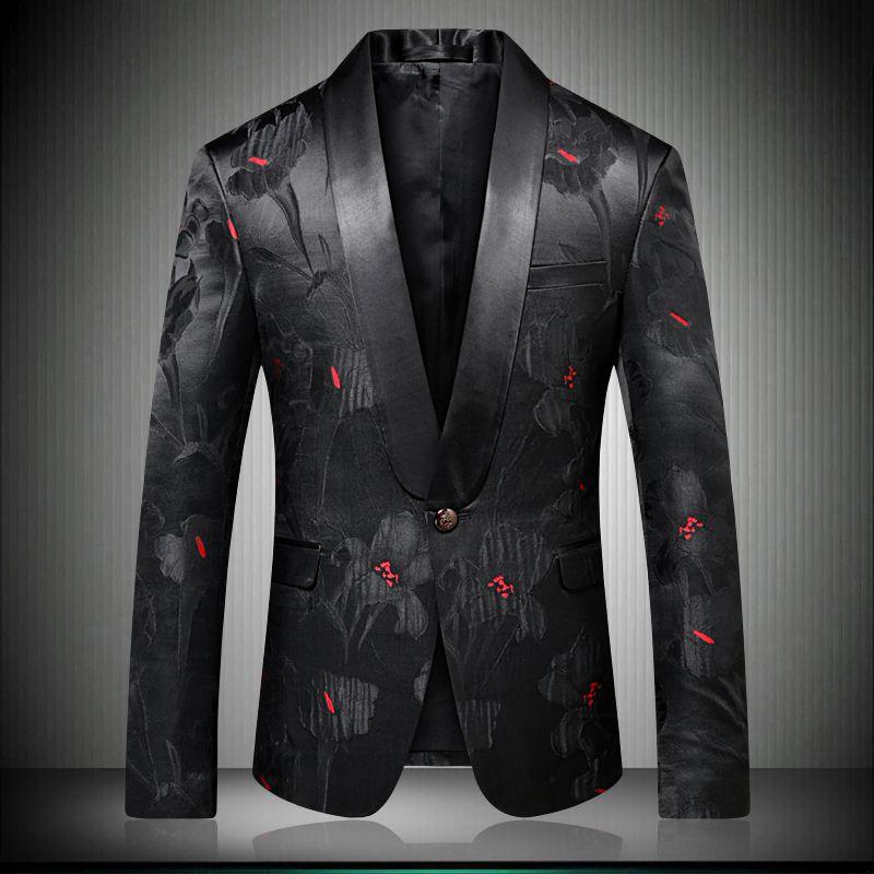 Homens Elegante Floral Blazers Designer Marca Slim Fit 2018 Outono Inverno Novo Smart Casual One Button Mens Preto Terno Casaco 9008