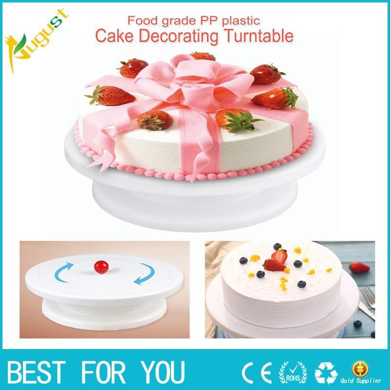 كعكة صنع الأقراص الدوارة المضادة للانزلاق البلاستيك الدورية تزيين منصة الوقوف عرض كعكة الجداول الدوارة