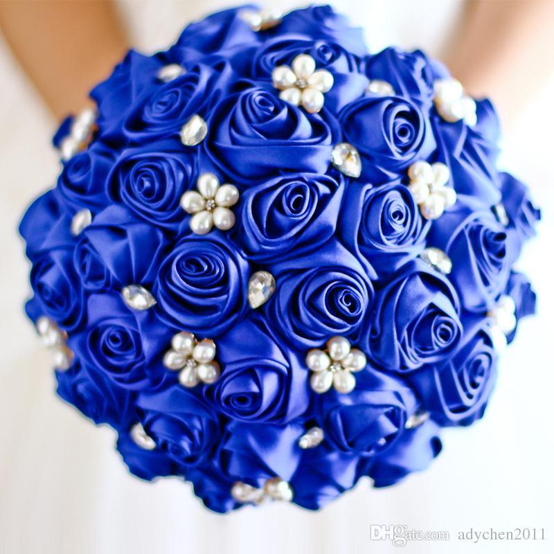 Royal Blue Pearls Bridal Brooch Bouquets Crystal Satin Wedding Bouquets Artificial Handmade Wedding Flowers Bride Bouquets 2018