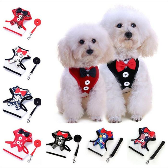 Vente Chaude Pet Chien Robe de soirée bowknot cravate poitrine bretelles Avec Boucle En Métal Pet Gilet T3I0297