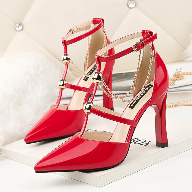 Sexy Chain Buckle Strap High Heels Lady Dress Shoes Women Heels Pumps Festival Party Wedding Shoes Heels Business Chunky Formal Pumps GWS416