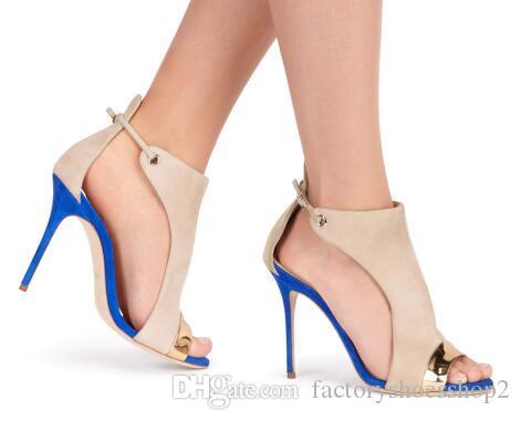 2018 Faux Leather Flock Cover Heel Women Sandals Colore misto Peep Toe Shoes Scarpe da donna di grandi dimensioni