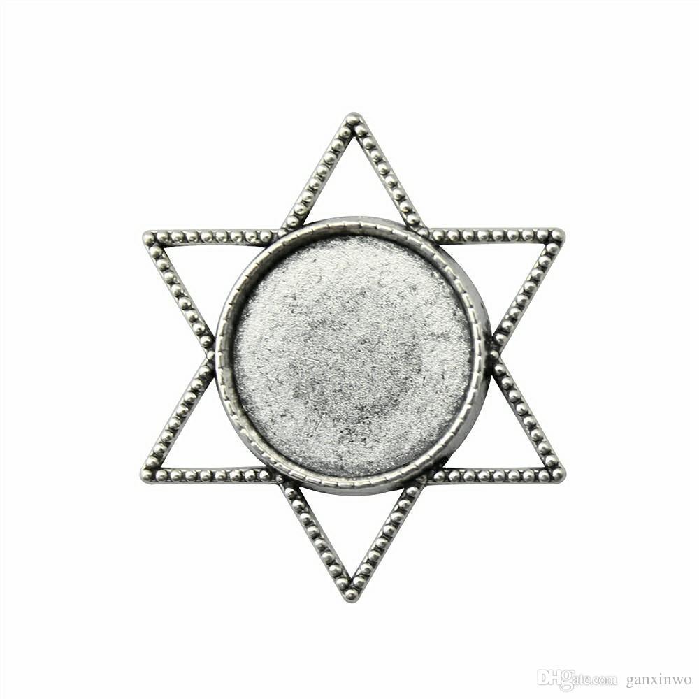 10 шт кабошон Камеи поддоном Ободок Blank Diy Ювелирных изделий Star Односторонний Внутренний диаметр 20мм Круглые Flatback смолы кабошоны