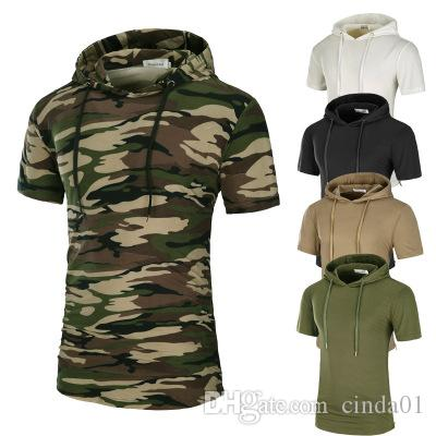 Men Longlines T Shirt Solid Camouflage Printed Mens Cotton T Shirts Short Sleeve Hooded Tee Homme High Street Wear